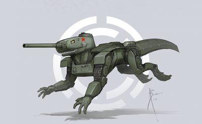 В образе быстрого и жестокого хищника Юрского периода — раптора — предстал советский танк Т-34-85.