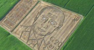 Итальянский фермер с помощью трактора «нарисовал» на поле гигантский портрет Путина